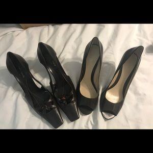 2 Pair of Ladies Brown Heels $50